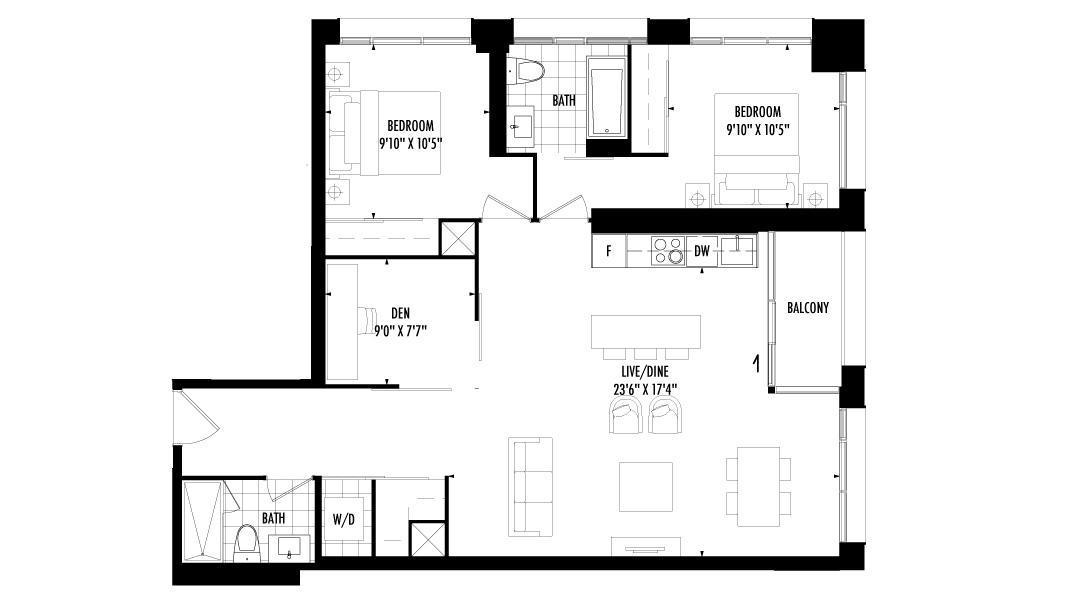 2 Bedroom + Den