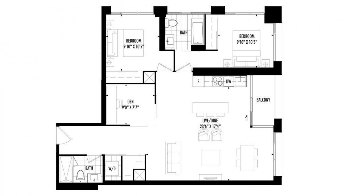 2 Bedroom + Den